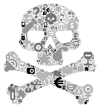 Human skull concept. Made of 100 vector icons set in black and gray colors. Vector