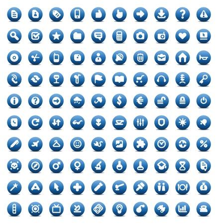 100 웹, 비즈니스, 미디어 및 레저 아이콘을 설정합니다. 파란색 단추입니다.