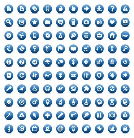 100 web, business, media and leisure icons set. Blue vector buttons. Vector