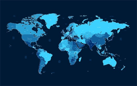 geographical locations: Detailed vector World map of blue colors on dark background. Names, town marks and national borders are in separate layers. Illustration
