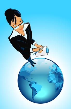 Business woman on globe. Vector illustration. Illustration