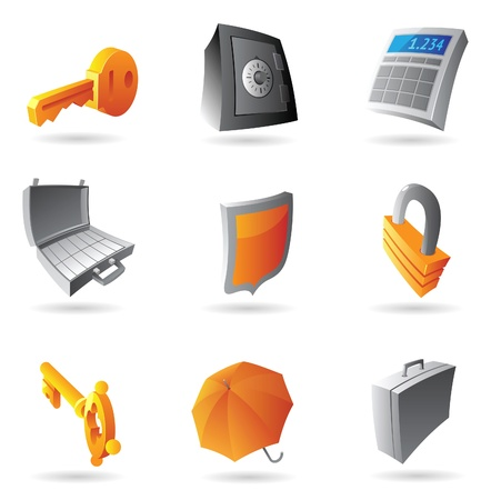 Icons for finance, security and banking. Vector illustration. Stock Vector - 10893012