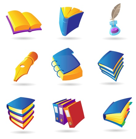 yellow notebook: Icons for books and literature. Vector illustration.