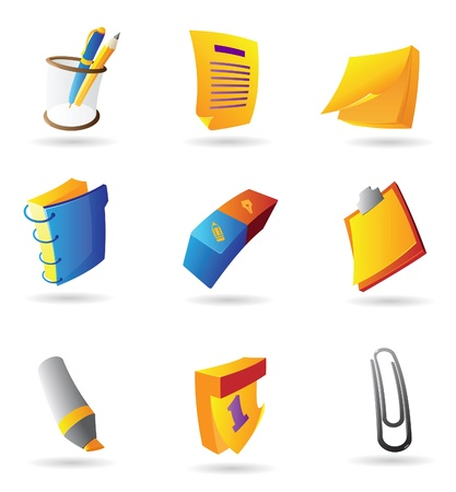 writing implements: Icons for stationery. Vector illustration.