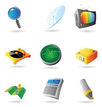 oscilloscope: Icons for interface. Vector illustration. Illustration