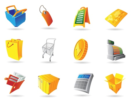 cash register: Icons for retail business. Vector illustration.