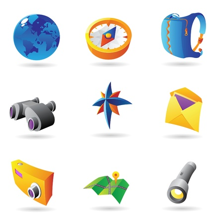 Icons for travel. Vector illustration. Vector