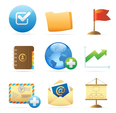 communicatie: Pictogrammen voor zakelijke metaforen en symbolen. Vector illustratie. Stock Illustratie
