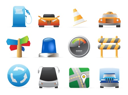 bus station: Icons for transportation, cars and roads. Vector illustration.