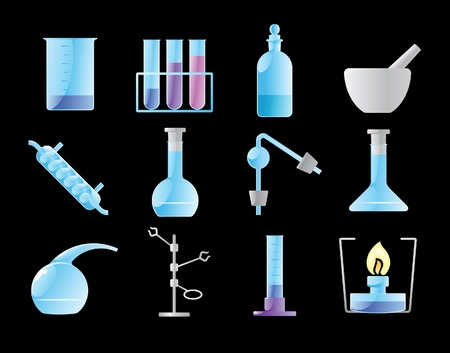 Icons for chemical lab. Vector illustration. Stock Vector - 10893022