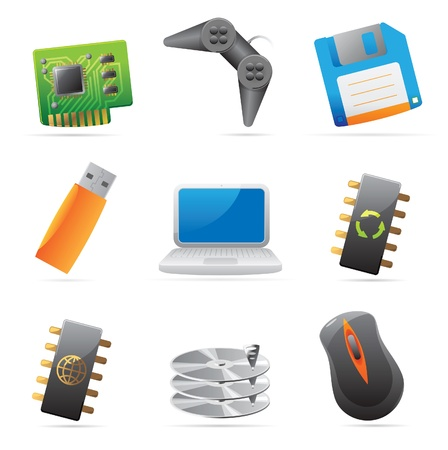 chipset: Icons for computer and computer parts. Vector illustration.