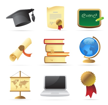 Icons for education. Vector illustration. Stock Vector - 10893054