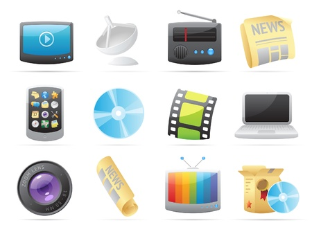Icons for media. Vector illustration. Stock Vector - 10893065