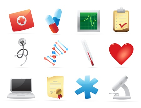 medical computer: Icons for medicine. Vector illustration.
