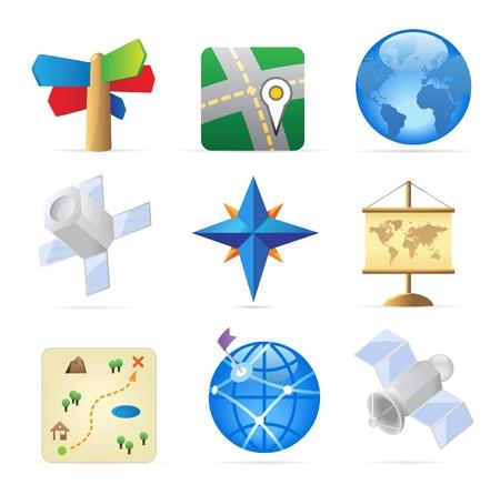 satellite navigation: Iconos para la navegaci�n. Ilustraci�n vectorial.