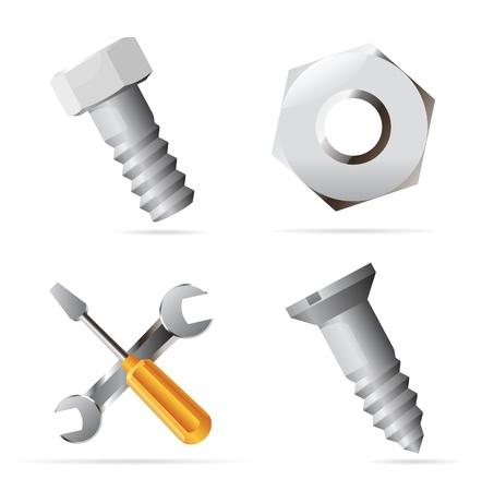 pernos: Iconos para tornillos y tuercas. Ilustración vectorial.