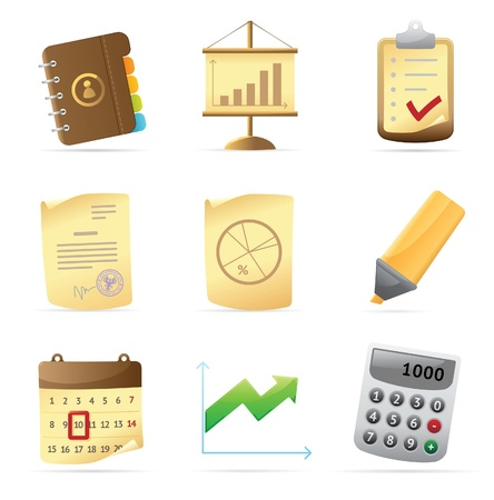 piechart: Icons for office and stationery. Vector illustration.