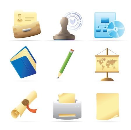 Icons for office and stationery. Vector illustration. Stock Vector - 10893042