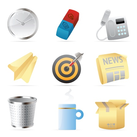 Icons for office and stationery. Vector illustration. Stock Vector - 10893035