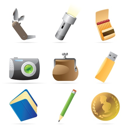 pocket flashlight: Icons for personal belongings. Vector illustration. Illustration