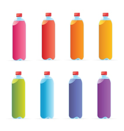 colas: Multicolored water bottles. Vector illustration. Illustration