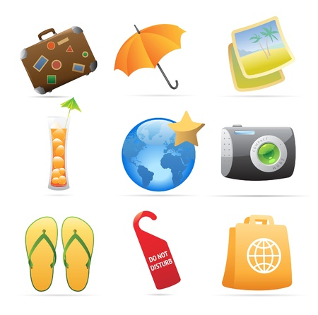 suit case: Icons for resort. Vector illustration.