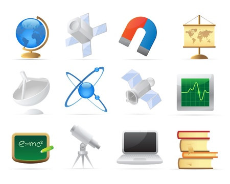 Icons for science and education. Vector illustration. Stock Vector - 10893107