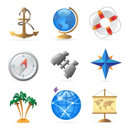 Icons for sea travel. Vector illustration. Vector