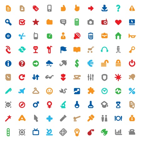 home entertainment: Set of one hundred multicolored icons for website interface, business designs, finance, security and leisure. Vector illustration. Illustration