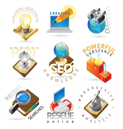 heading: Science icons. Heading concepts for document, article or website. Vector illustration.