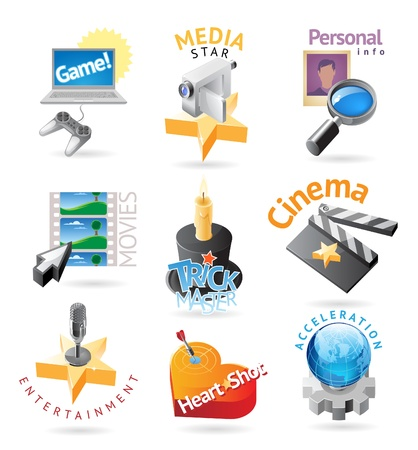gamepad: Media and entertainment icons. Heading concepts for document, article or website. Vector illustration.