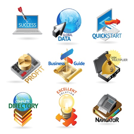 Business and technology icons. Heading concepts for document, article or website. Vector illustration. Vector