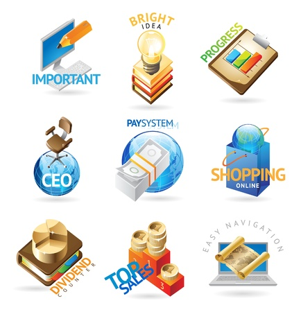 Business icons. Heading concepts for document, article or website. Vector illustration. Ilustrace