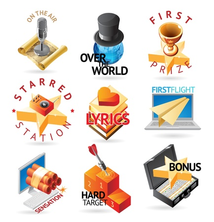 Media and entertainment icons. Heading concepts for document, article or website. Vector illustration. Vector