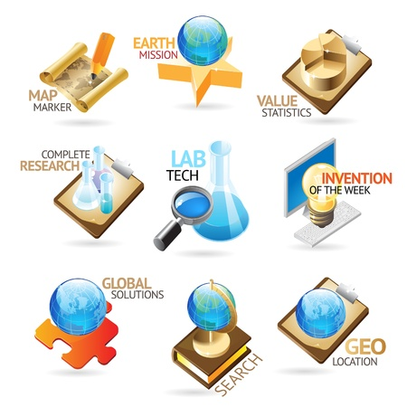 researching: La ciencia y la tecnolog�a de iconos. T�tulo conceptos de documento, art�culo o p�gina web. Ilustraci�n vectorial.