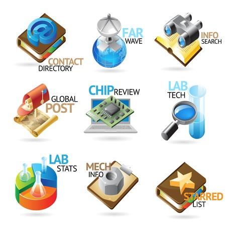 communication metaphor: Technology and industry icons. Heading concepts for document, article or website. Vector illustration.