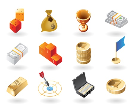 billion: High detailed realistic vector icons for award and success