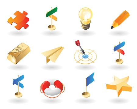 High detailed realistic vector icons for creative business Vector