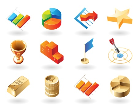 business symbols metaphors: High detailed realistic vector icons for business metaphors