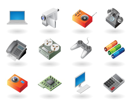 High detailed realistic vector icons for electronics devices Stock Vector - 10893093