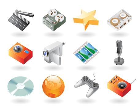 entertainment icon: High detailed realistic vector icons for entertainment