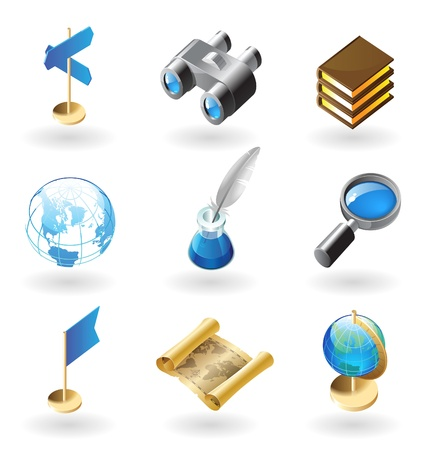 High detailed realistic vector icons for geography Stock Vector - 10893077