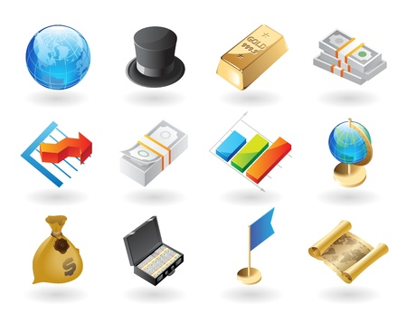 High detailed realistic vector icons for global finance Vector