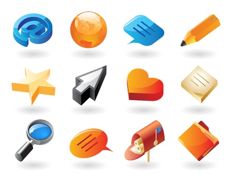 High detailed realistic vector icons for conversation and website interface Vector