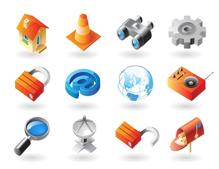 gear box: High detailed realistic vector icons for website interface