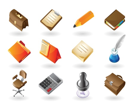 High detailed realistic vector icons for business office and stationery Vector