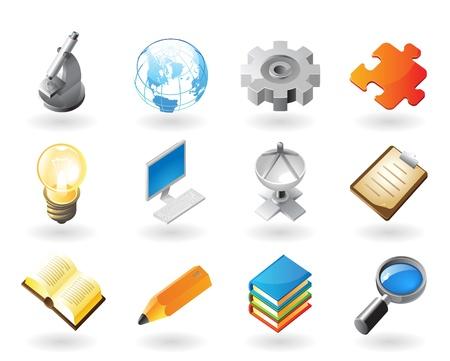 search icon: Hoge gedetailleerde realistische vector pictogrammen voor de wetenschap, industrie en technologie