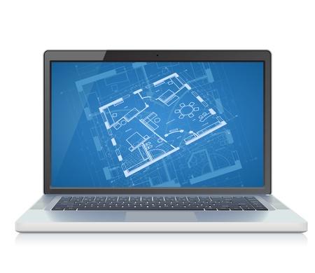 画面上の抽象的な建築設計図の背景を持つ高詳細なラップトップ。ベクトル イラスト。