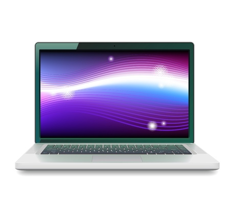 laptop screen: High detailed vector laptop with abstract colorful background on screen. Illustration
