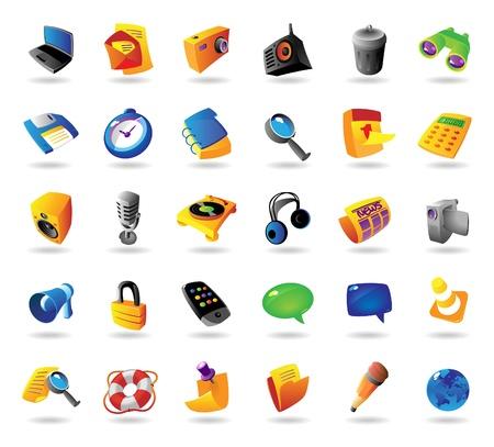 iconos de m�sica: Realista iconos vectoriales colorido conjunto para el ordenador y la interfaz web en el fondo blanco